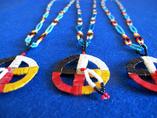 Lakota quilled medicine wheel necklace